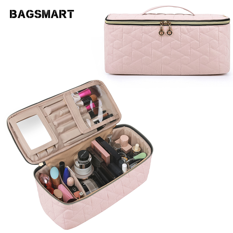BAGSMART Makeup Bag Storage Bag Large Toiletry Bag Travel Bag Case Organizer For Women, Soft Light Pink