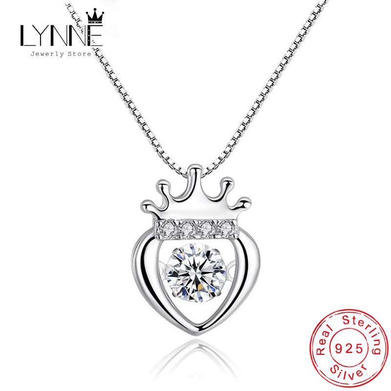 New Fashion Can Dance Rhinestone Peach Heart Crown Pendant Necklace 925 Sterling Silver Zircon Pineapple Necklaces Women Jewelry