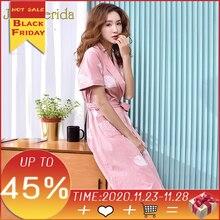 ピンクの着物ローブ女性綿 100% の夜ローブ 2020 新半袖花印刷ファッション女性のバスローブ花嫁ローブ女性