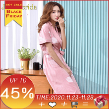 Robe de nuit en coton pour femmes rose, Kimono, manches courtes, mode imprimé Floral, nouvelle collection 100% 2020