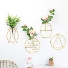 The New metal frame Flower vase plant glass hanging home Golden small for decor test tubes flowers