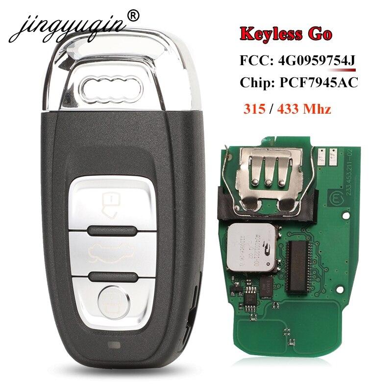 Jingyuqin 8T0959754F 3BTN полностью умный дистанционный автомобильный брелок для Audi A4 A5 A6L A7 A8 Q5 без ключа Go 754J 315/433 МГц pcf7945AC чип