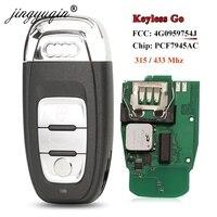 Jingyuqin 8T0959754F 3BTNフルスマートリモート車のキーアウディA4 A5 A6L A7 A8 Q5 キーレスゴー 754J 315/433mhz pcf7945ACチップ