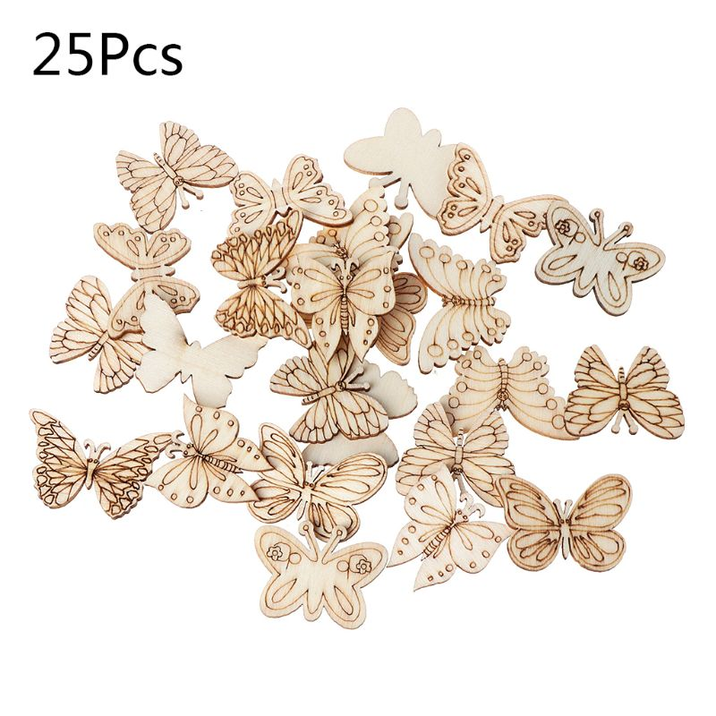 25pcs Laser Cut Wood Butterfly Embellishment Wooden Shape Craft Wedding Decor