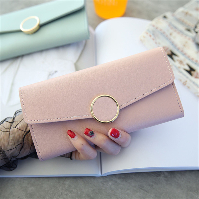 New Fashion Long Wallet Leather Women Wallet Pu Leather Purse Zipper Metal Circle Decor Wallets Female Hasp Coin Purse Clutch