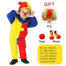 Costumi bambini bambini circo Costume da Clown con cappello arlecchino impertinente Fantasia Fantasia Infantil abbigliamento Cosplay per ragazzi