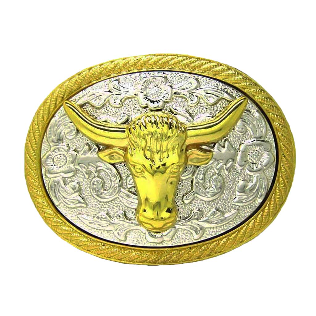 Shinnie Gold BULL Head Belt Buckle Lovoski Antique Zinc Indian Cow Head Men's Belt Buckle Metal Zinc Alloy