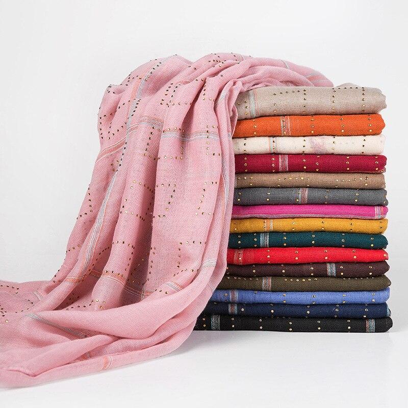 Islamic Plaid Cotton Headscarf Rhinestone Hijab Scarf For Muslim Women India Wrap Head Scarves Hijab Femme Musulman