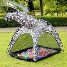 Портативный в форме зебры детская палатка с рисунком мультяшных