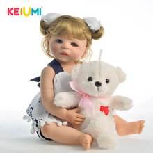 22 inch New Arrival Full Body Vinyl Baby Doll Girl Toy Lifelike Boneca Reborn Babies Blond Curls Hair Kids Birthday Present