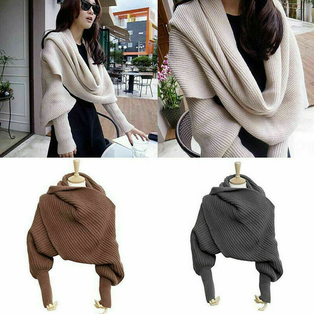 10 Colors Women Knitted Sweater Tops Scarf With Sleeve Wrap Winter Warm Shawl Scarves Sweaters