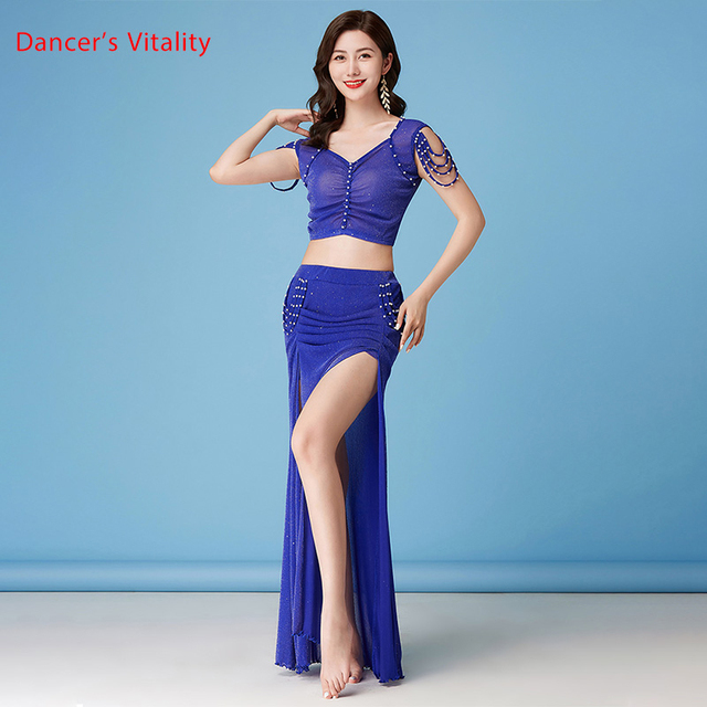 Belly Dance Suit New Summer Female Temperament Top Practice Clothes Profession Sexy Mesh Long Skirt Training Clothing 5
