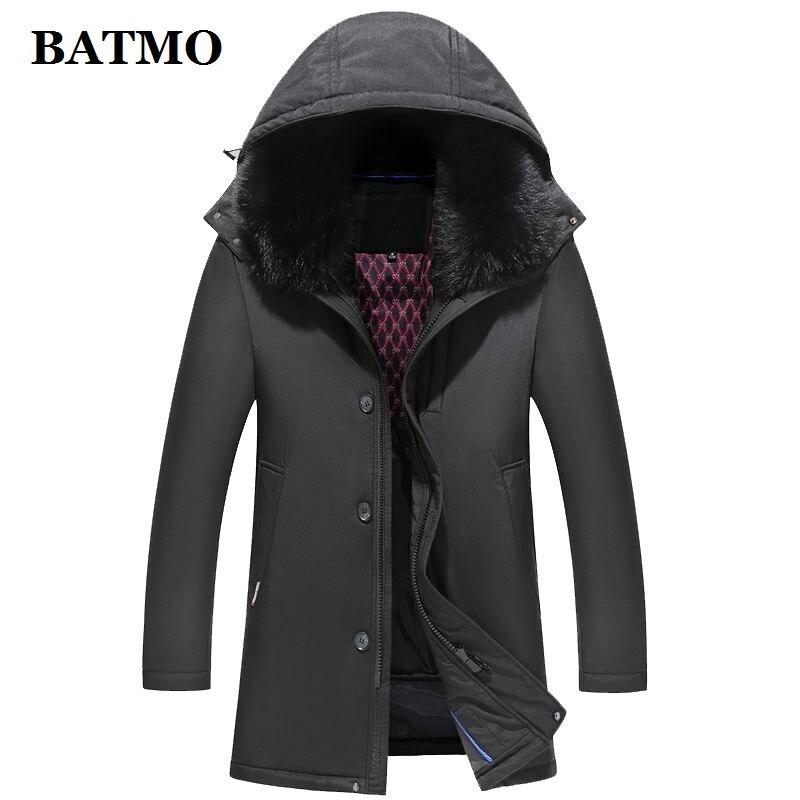 BATMO 90% white duck   down  &rabbit fur collars hooded jackets men,men's thicked   coat   ,plus-size M-5XL 1868