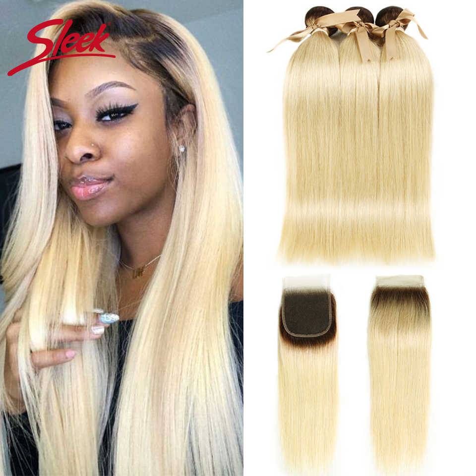 Sleek Ombre Blonde Bundles With Closure Indian Remy Human Hair T4 613 Honey Blonde Bundles With Closure 10-26 Inches