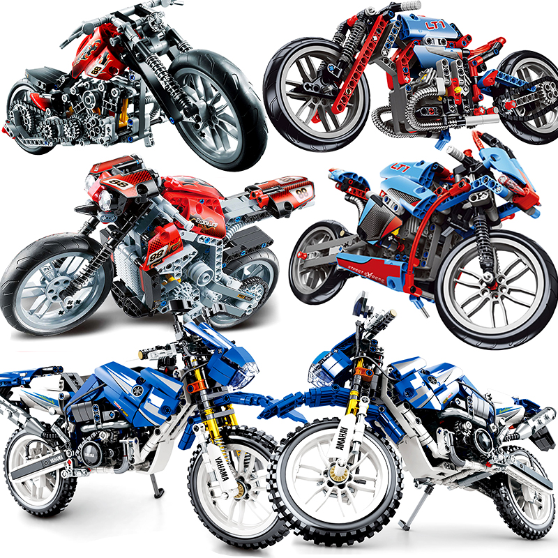 Motorcycle Technic Compatible Legoinglys Moto Racing Motorbike City Vehicle Sets Off Road Model Building Blocks Kids Toys