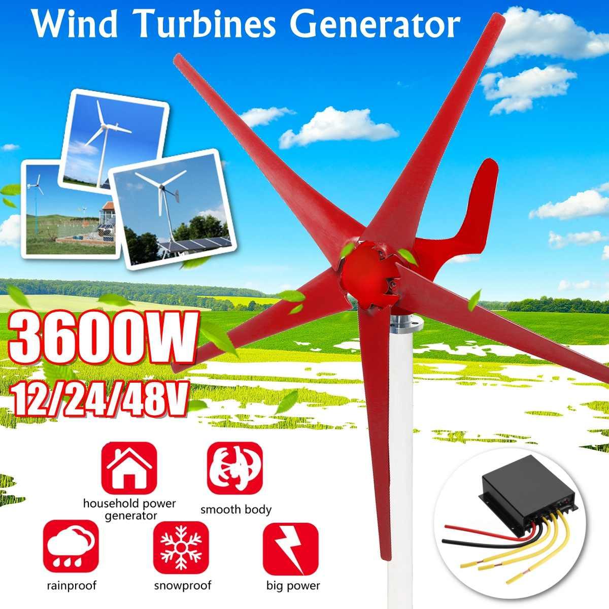 3600W Gerador de Energia Eólica Turbinas 12/24/48V 5 Pás Eólicas Opção Com Controlador de Carga de Uso para Casa, luzes, luzes de Acampamento, Barco