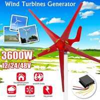 Generador de turbinas de energía eólica de 3600W 12/24/48V 5 opciones de cuchillas de viento con uso de controlador de carga para casa. luces, Camping, barco