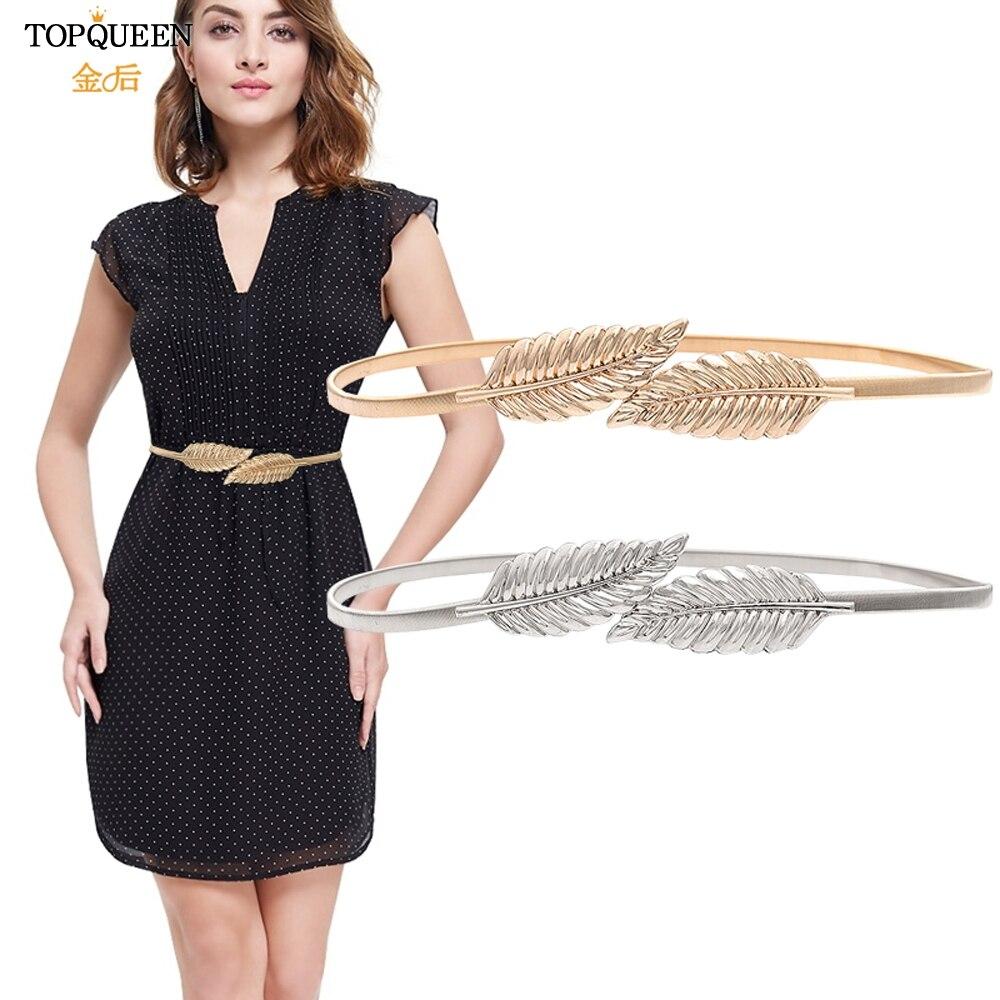 TOPQUEEN  Elastic Women Belts Gold Silver Chain Waist Belts Metal Plate Female Dress Belts High Quality Thin Stretch Belts S448