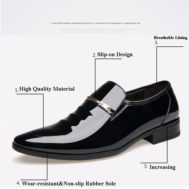 Merkmak Vintage Design Patent Leather Oxford Shoes For Men Dress Shoes Men Formal Shoes Pointed Toe Business Wedding Shoes 6