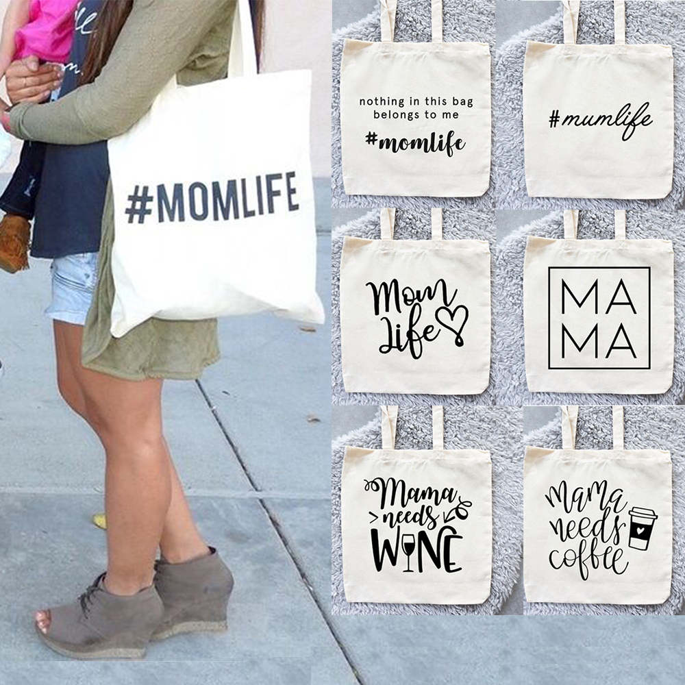 Women Canvas Bag Mom Life Bags Reusable Shopping Tote Bag Nothing In This Bag Belongs To Me Coffee Print Travel Bag Diaper Bag