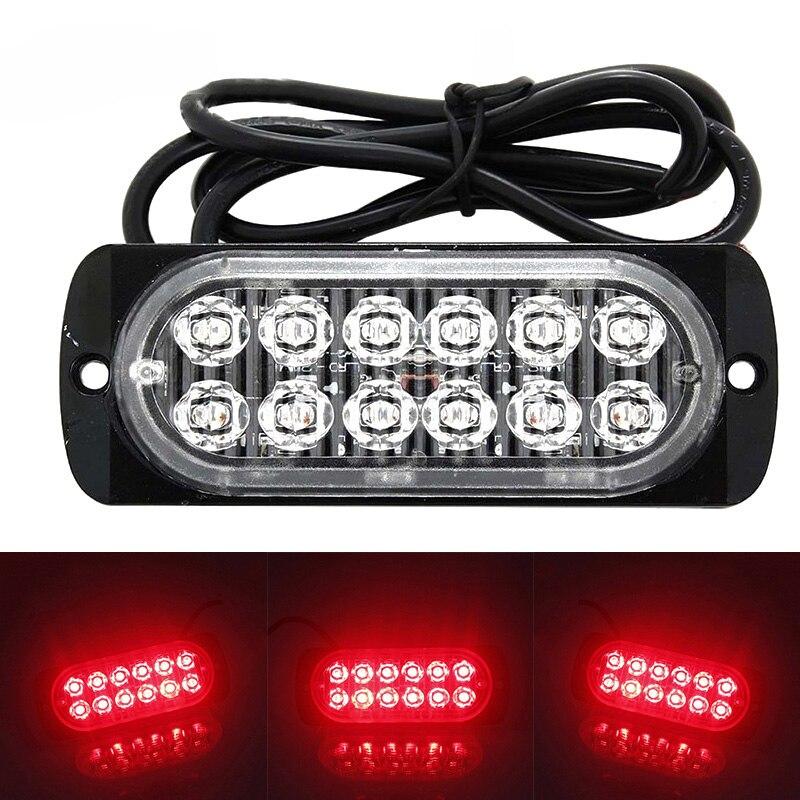 Universal 12LED Off-road Car Trailer Trucks Safety Urgent Working Fog Red Light Lamp DC 12V~24V 36W LED Urgent Light