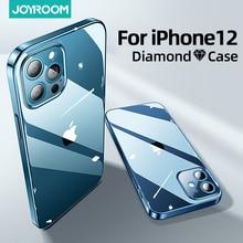 עבור iPhone 12 פרו מקסימום 12 מיני מקרה, TPU + מחשב Joyroom ברור עמיד הלם מלא עדשת הגנת כיסוי עבור iPhone 12 דקות שקוף מקרה