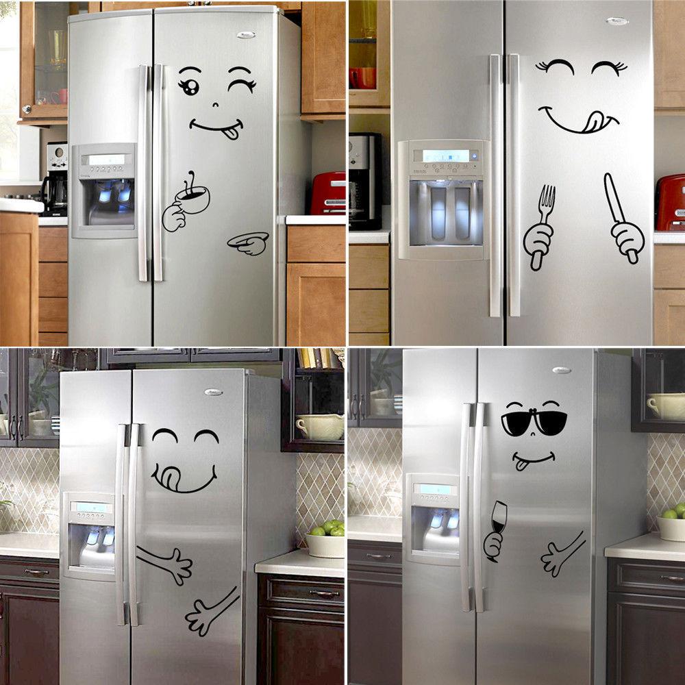 >Smile Face <font><b>PVC</b></font> Wall Sticker Cute Happy <font><b>Delicious</b></font> Face DIY Fridge Stickers <font><b>Cartoon</b></font> Decal Fridge Kitchen Decor Yummy Art Poster