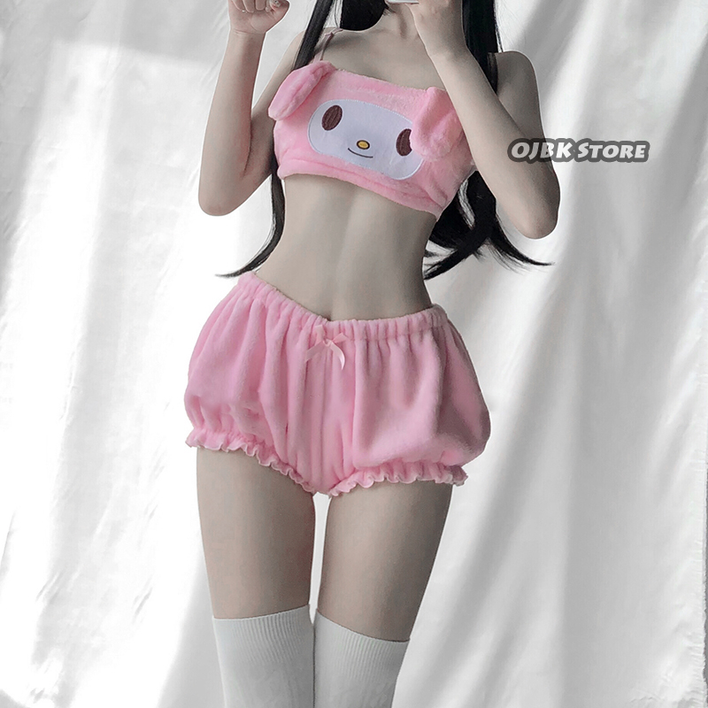 OJBK Sexy Anime Cosplay  Cinnamon Dog Costumes Long Ear Doggy Bra and bloomers Pink And White Kwaii Velvet Tube Top Panties Set 1