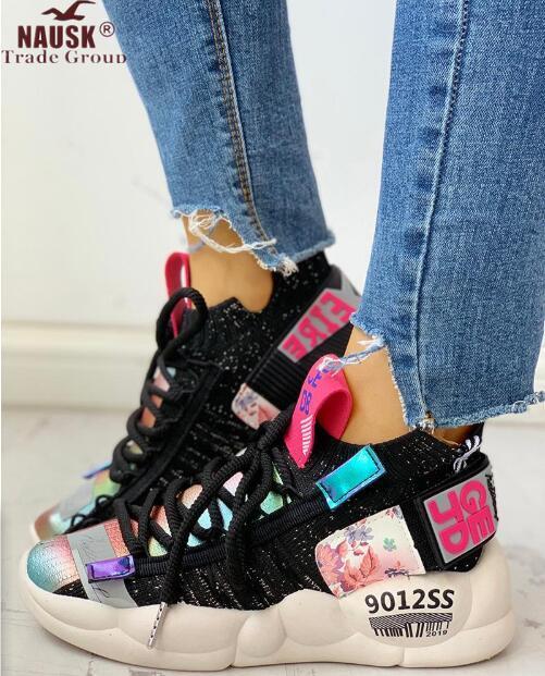 NAUSK Women Vulcanized Shoes Summer Tape Sneaker 2019 Spring Autumn Knitting Breathable Shoe Chunky Platform Sneakers Women