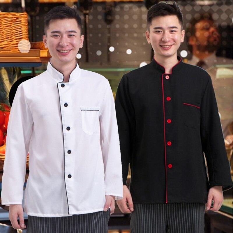 Uzun kollu şef üniforma mutfak restoran pişirme kıyafetleri fırın Catering üniforma nefes garson iş elbisesi şef ceketler