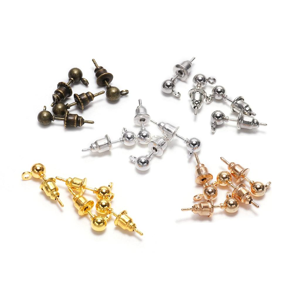50pcs/lot 3/4/5mm Pin Findings Stud Earring Basic Pins Stoppers Connector For DIY Jewelry Making Accessories Supplies