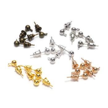 50pcs/lot 3/4/5mm Pin Findings Stud Earring Basic Pins Stoppers Connector For DIY Jewelry Making Accessories Supplies - discount item  30% OFF Jewelry Making