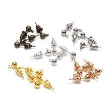 цена на 50pcs/lot 3/4/5mm Silver Pin Findings Stud Earring Basic Pins Stoppers Connector For DIY Jewelry Making Accessories Supplies