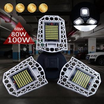 цена на 60W 80W 100W E26 Led Garage Lamp UFO Deformable Lamp 220V Industrial Light E27 Led High Bay Light Parking Warehouse Bulb 110V