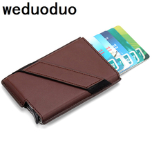 2019 New Metal Card Holder RFID Aluminium Alloy Credit PU Leather Wallet Antitheft Men Automatic Pop Up