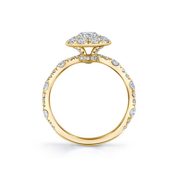 Solid Yellow Gold 14K Round Cut 1 carat Halo Engagement Ring  2