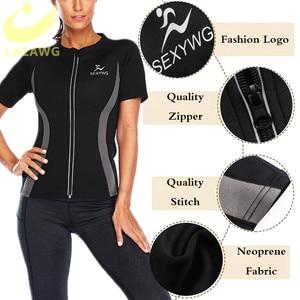 Image 3 - Женский неопреновый жилет LAZAWG, топ для похудения с коротким рукавом для тренировок, термотоп для сауны, топы для сжигания жира, потери веса