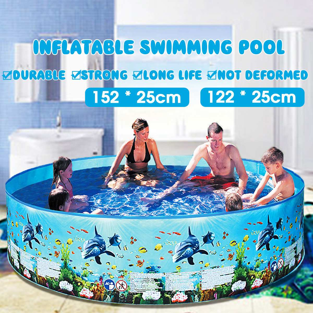 122/152cm Family Home Use Paddling Pool Round Swimming Pool Inflatable Children Bathing Tub Kids Inflatable Pool Summer Lounge