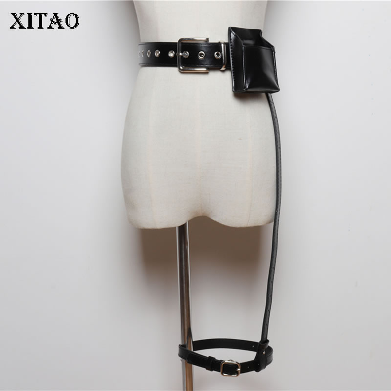 XITAO Dark Wind P U Leather Cummerbunds Women Fashion Pocket Chain Elegant 2019 Autumn Small Fresh Casual Cummerbunds GCC2235