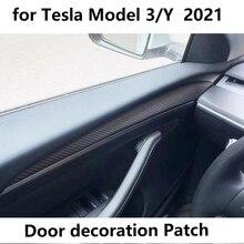 ماتي ألياف الكربون عودة ل تسلا نموذج 3 2021 باب الديكور التصحيح واقية غطاء الديكور اكسسوارات نموذج Y 2021