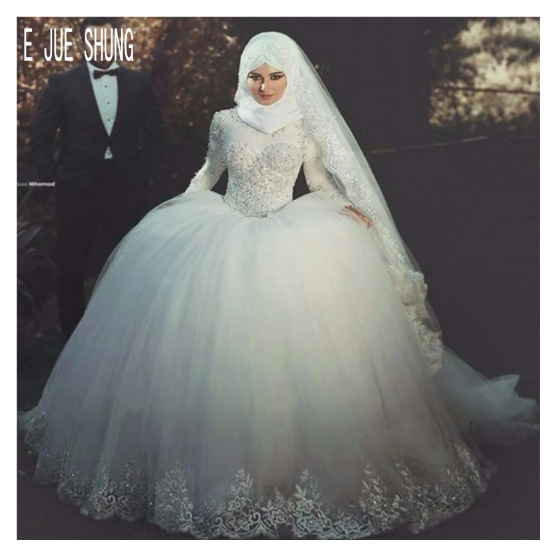 E JUE SHUNG Luxury Ball Gown Wedding Dresses Long Sleeves Muslim Wedding Gowns Lace Appliques Beaded Bridal Gowns Robe Mariage