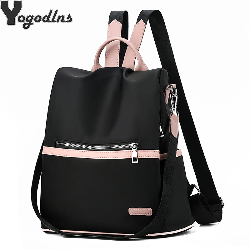 2019 Casual Oxford Backpack Women Black Waterproof Nylon School Bags For Teenage Girls High Quality Fashion Travel Tote Packbag