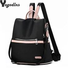 2019 Casual Oxford mochila mujer negro impermeable Nylon escuela bolsas para adolescentes alta calidad viaje bolso de mano