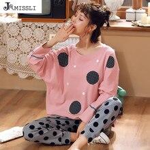 Jrmissli 여성 잠옷 세트 긴 소매 도트 인쇄 가을 홈 가구 서브 정장 순수 코튼 pijamas 전체 바지 캐주얼 M 2XL