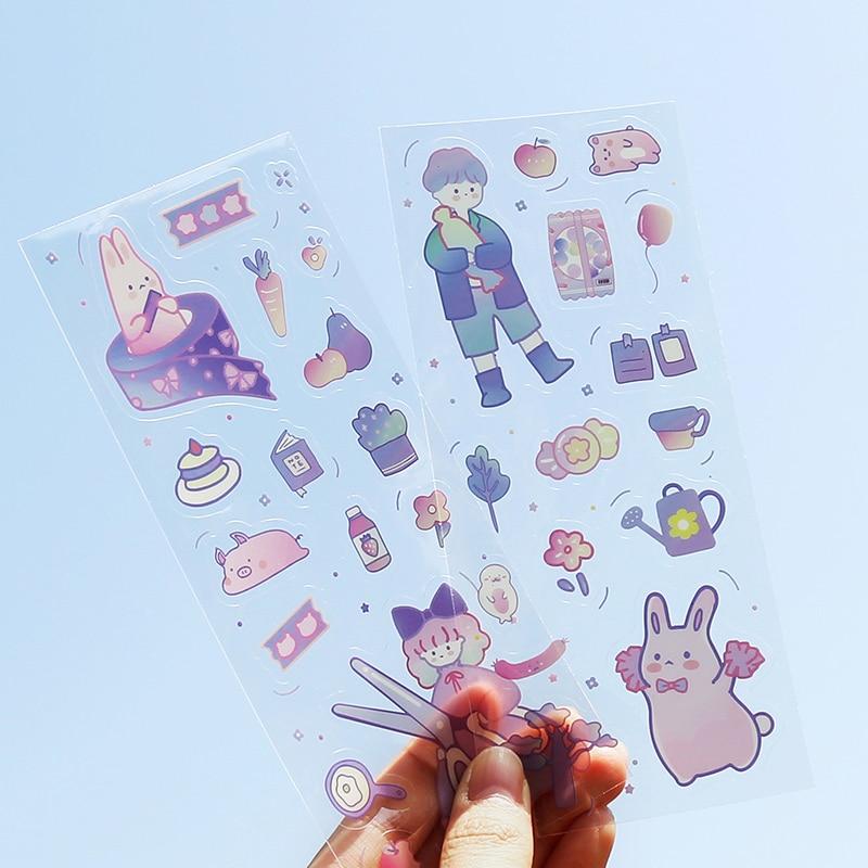2Pcs \ Kawaii PVC Sticker Decor For Laptop Phone Trunk Album Diary Calendar Scrapbook Student Stationery Office Supplies