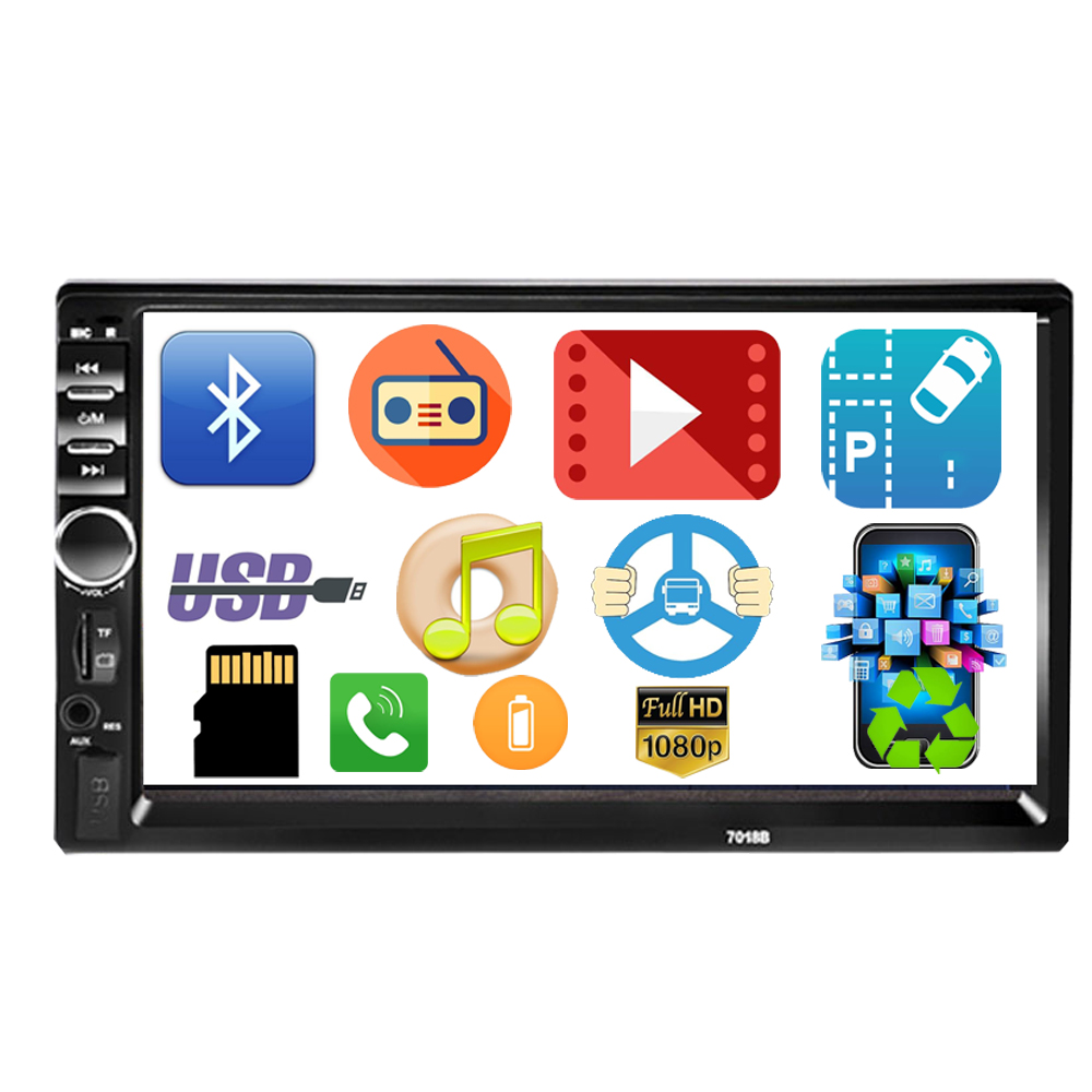 Autoradio 2 din Cassette Recorder Car Radio HD 7 7018B Touch Screen Car Audio Bluetooth Rear View Camera MP5 Multimidio Player image