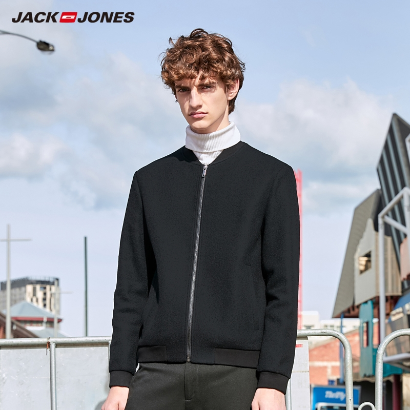 JackJones Men's Slim Fit Embroidered Woolen Coat hiphop Menswear| 219327519