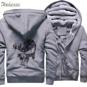 Image 5 - Super Hero  Skull Sweatshirts Men 2018 New Winter Fleece Print Thick Hoodies Jacket Hoddie Streetwear Hip Hop Male