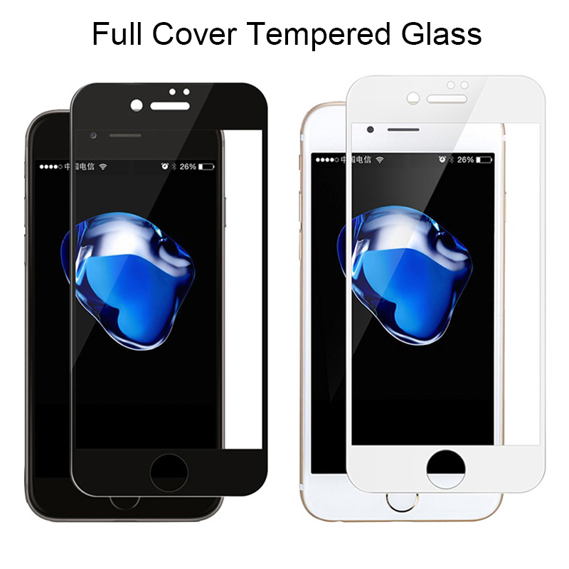Black Screen Protector On The For IPhone 7 Tempered Glass For IPhone X Xs Max Protective Glass For IPhone 11 Pro 8 6 6S Plus XR