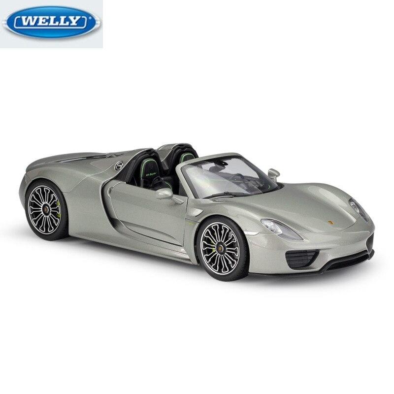 WELLY 1:18 PORSH 918 Spyder Diecast Sports Car Simulation Alloy Car Model...